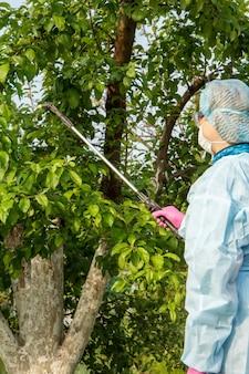 보호복을 입은 여성이 과수원에서 화학 물질이 든 압력 분무기를 사용하여 곰팡이 질병이나 해충으로부터 사과 나무를 뿌리고 있습니다.