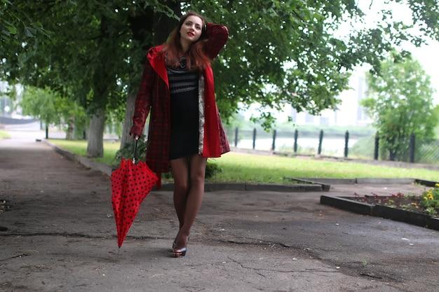 レインコートと傘の女性