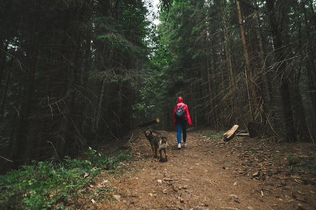 빨간 재킷을 입은 여자와 두 마리의 개가 숲에 서있다 가이드와 함께 개를 하이킹하는 소녀 등반