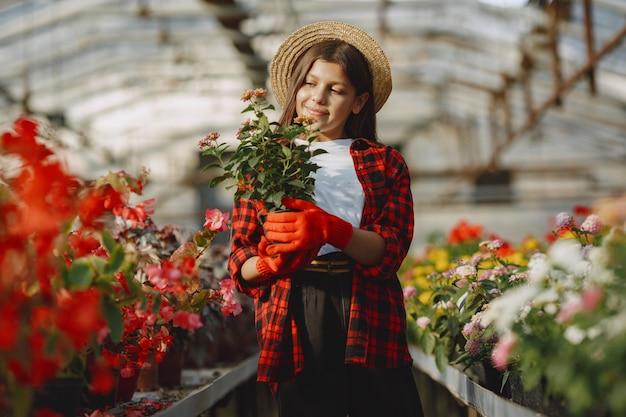 赤いシャツを着た女性。フラワープートを持った労働者。植物を持つ娘