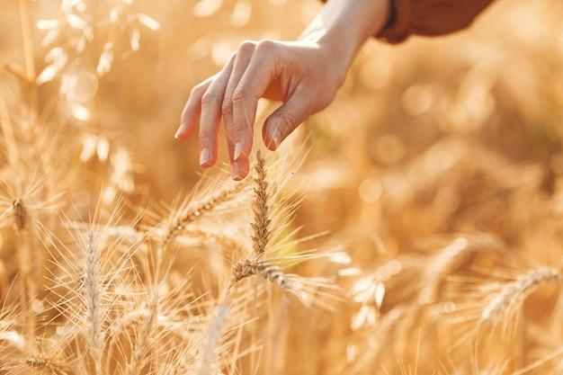 Женщина в летнем поле. брюнетка в коричневом свитере.