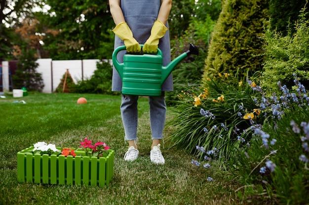 エプロンと手袋をはめた女性が庭にじょうろを持っています。女性の庭師は、屋外の植物、ガーデニングの趣味、花屋のライフスタイルとレジャーの世話をします