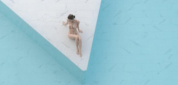Женщина в бикини сидит у бассейна из белой мраморной каменной плитки с голубой водой.