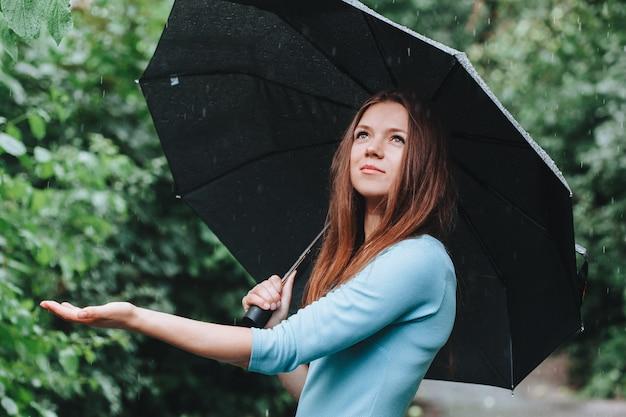 雨の中で傘を持つ青いドレスの女