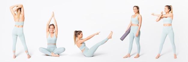 Женщина в синем спортивном бюстгальтере и леггинсах для йоги