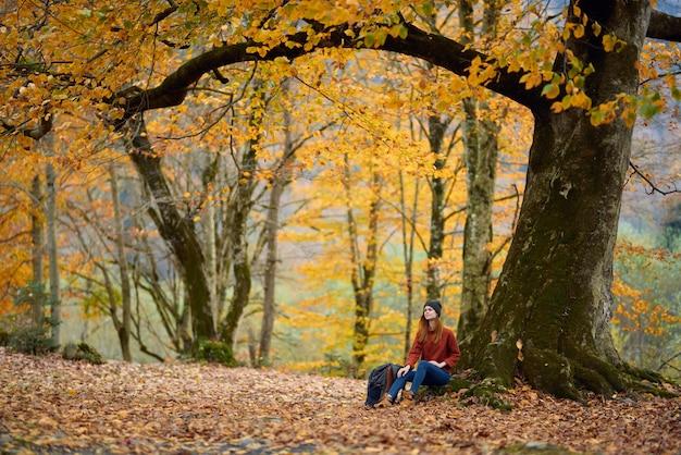 ジーンズのセーターを着た女性が秋の森の木の下に座り、落ち葉のモデル