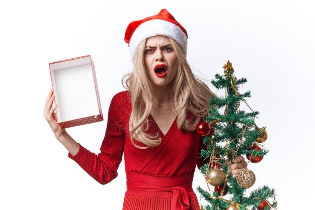 赤いドレスの女性クリスマスデコレーションギフト休日