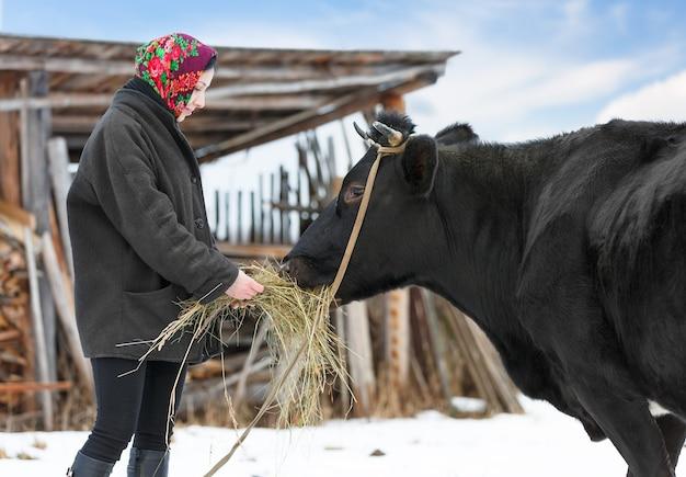 伝統的なロシアの服を着た女性が田舎で牛と一緒に立っています
