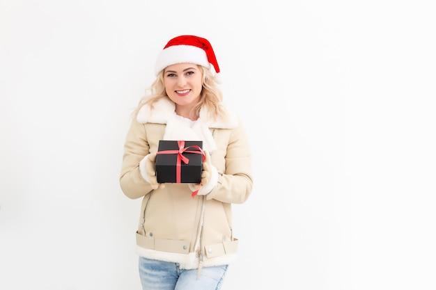 여자, 에서, 겨울 옷, 와, 선물, 선물, 미소