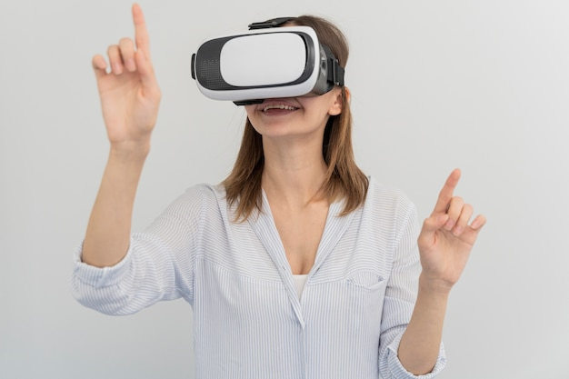 Woman innovating energy in virtual reality style