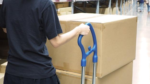 Женщина тащит тележку на большом складе склада или груза для распределения.