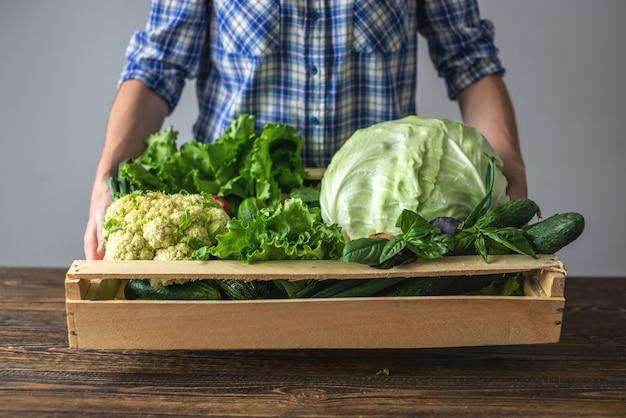 Женщина держит коробку свежих здоровых овощей
