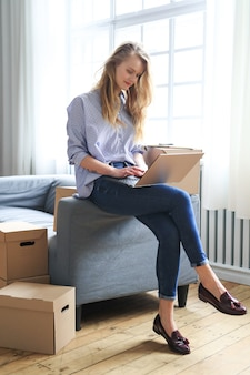Woman is moving to new home