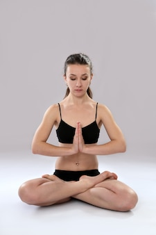 Woman is practicing yoga