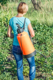 여자는 압력 분무기로 곰팡이 질병이나 해충으로부터 감자 식물을 보호하고 있습니다.