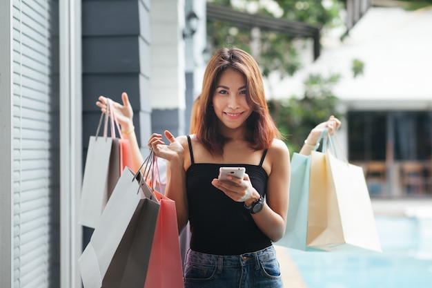 The woman is shopping online