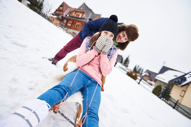 Woman is terrified before she will toboggan