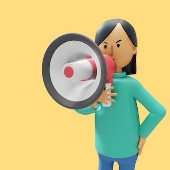 여자가 확성기를 사용하여 무언가를 발표하고 있습니다.