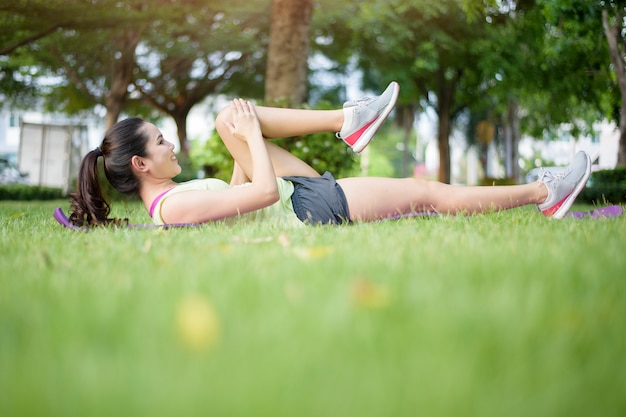 Woman is workout in outdoor