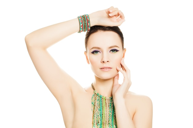 Woman isolated. makeup manicure nails and jewelry