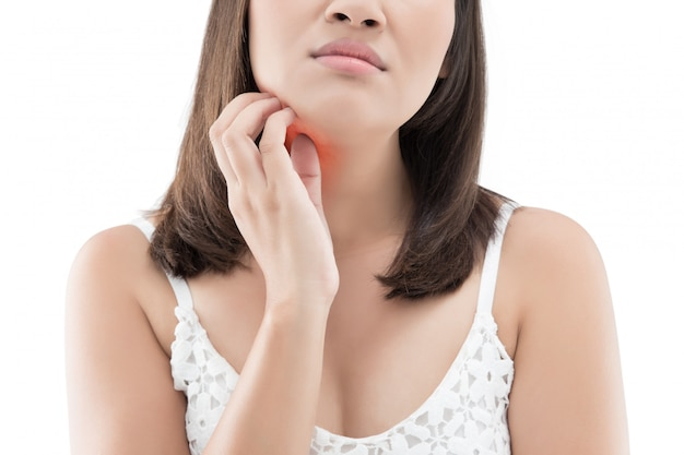 Woman itching his chin isolated