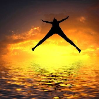 밤에 해변에서 점프하는 여자
