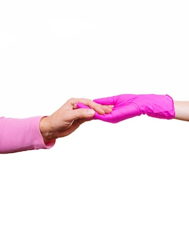 Woman keep carry closeup retiree gloves doctor hospice pink nurse hands old person white isolated medical