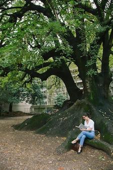 Женщина, изучающая литературу из книг, сидит на тысячелетнем дереве