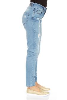 Woman legs and blue denim