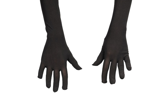 Woman in long black gloves wanting or asking for something isolated on a white background .