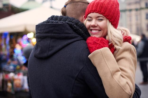 Woman in love with her boyfriend