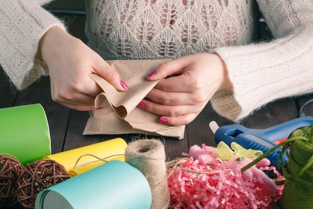 Woman make gift