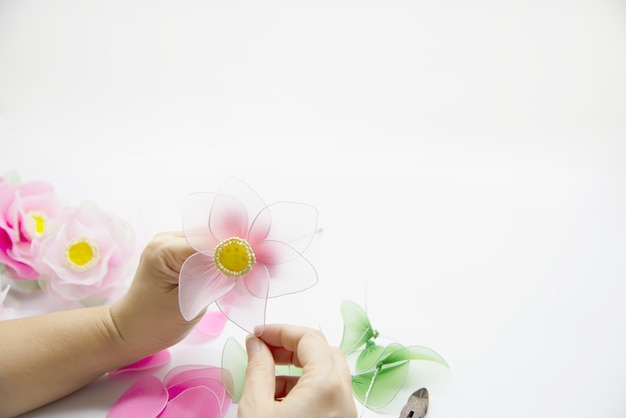 Woman making beautiful nylon flower