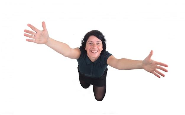 Woman making a crouching hug Premium Photo