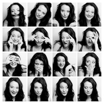 異なる表情を作る女性