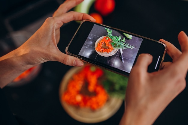 Woman making photo of a meal on her phone