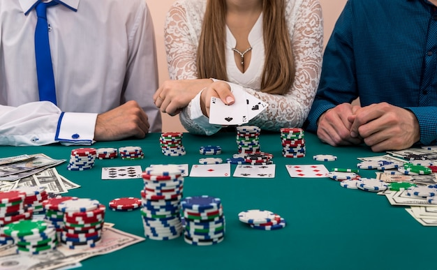 Woman in male company shoving card combination