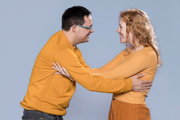 Woman and man being happy to see each other