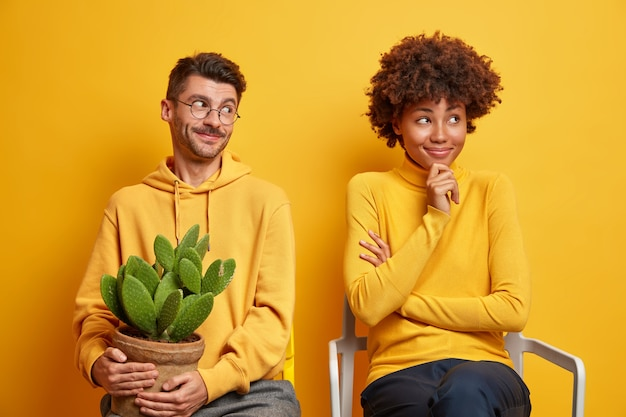 Woman and man sit closely to each other on comfortable chairs guy holds pot of cactus isolated on yellow