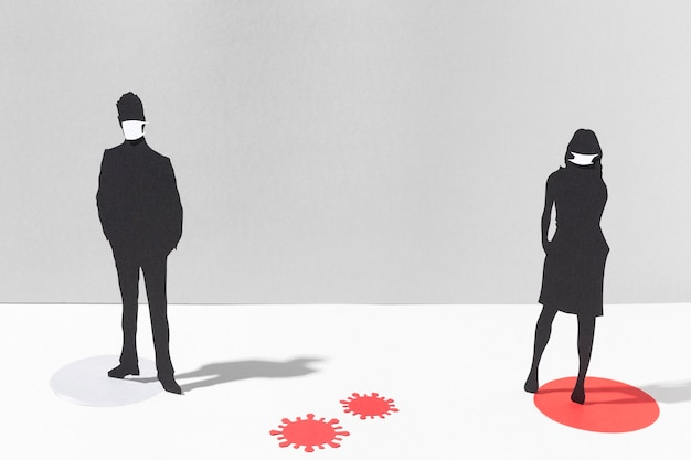 Donna e uomo con maschere mediche per la protezione dal coronavirus