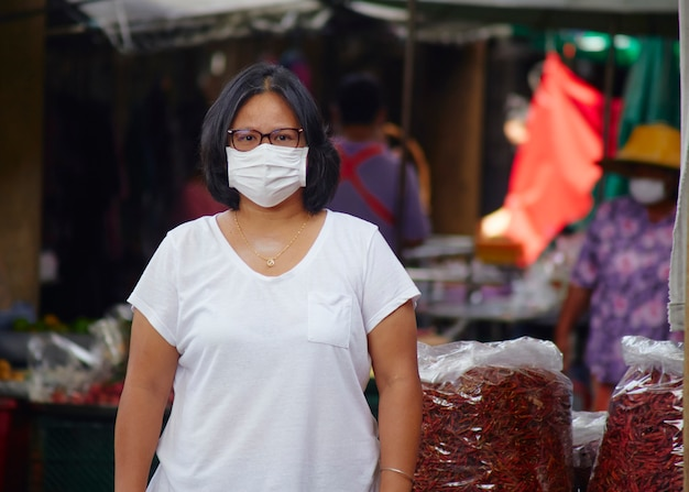 Woman in masks for protection against viruses and flu on busy market streets