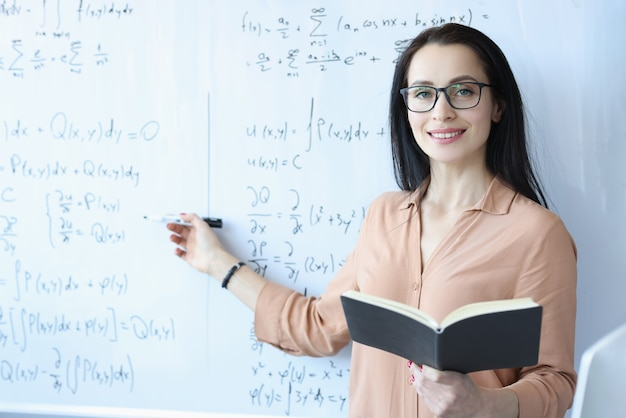 Woman mathematician with glasses standing at blackboard with formulas and holding open book