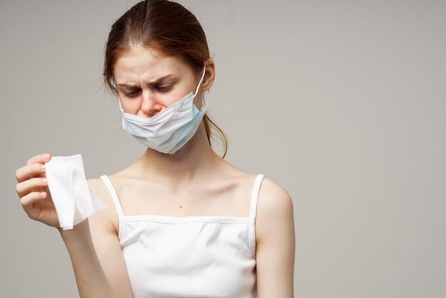 女性医療マスクハンカチ風邪の健康問題