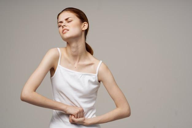 Woman menstruation health problems gynecology light background