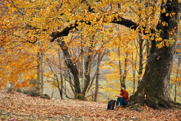 セーターとジーンズとブーツの女性モデルは、公園の落ち葉の森の木の近くの地面に座っています。高品質の写真