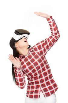 Woman in modern vr headset traveling in cyberspace.