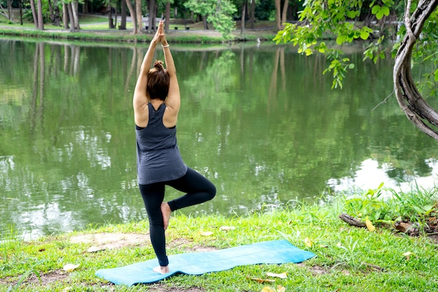 Woman more than 50 year old practicing yoga
