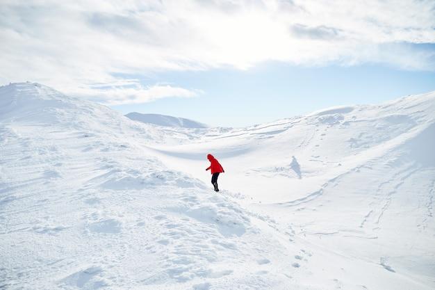 언덕에 걷는 여자 산악인 신선한 눈으로 덮여있다. 카르 파티 아 산맥
