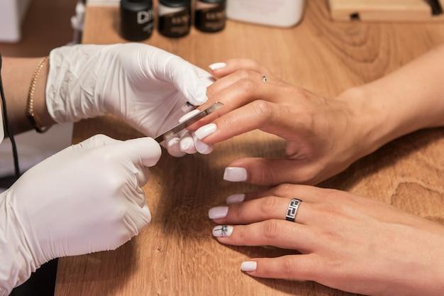 Woman in a nail salon