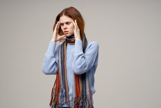 여자 목 스카프 차가운 손수건 근접 촬영